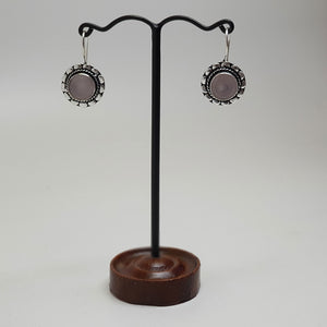Round Hook Earring with Stone Rose quartz