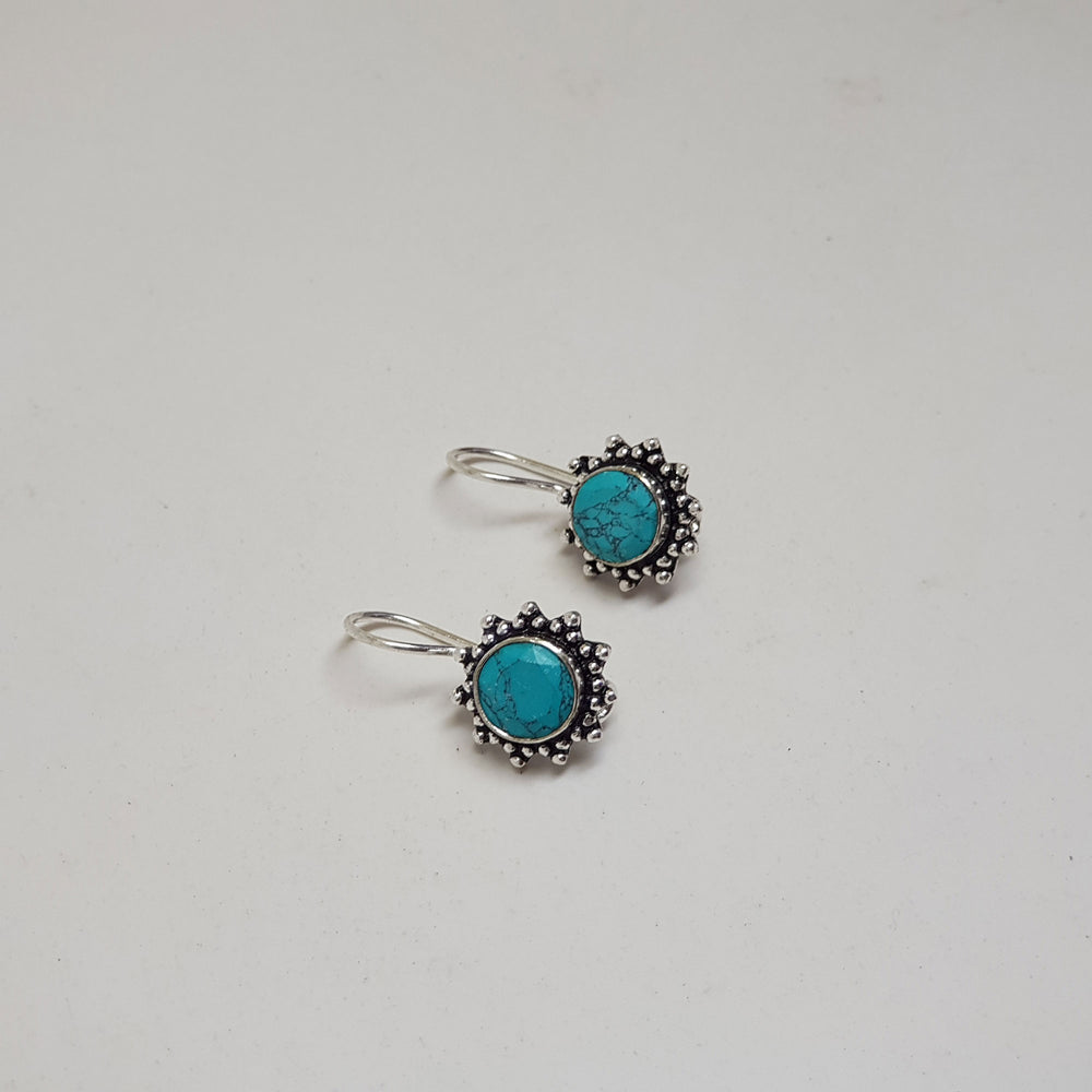 Round Hook Earring with Stone turquoise