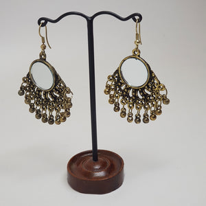 Small Hanging Mirror Earring Bronze