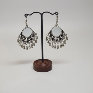 Small Hanging Mirror Earring Silver