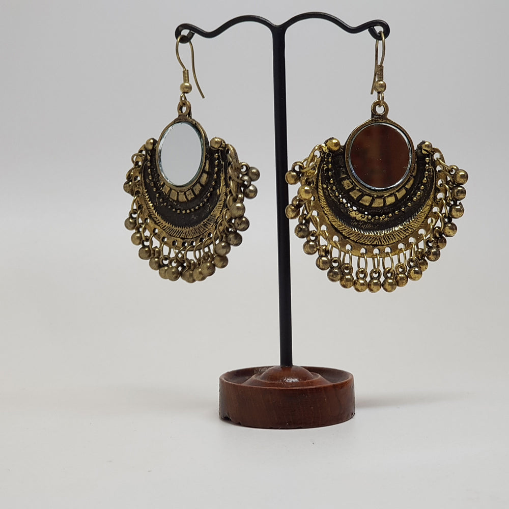 Arch Hanging Mirror Earring Bronze