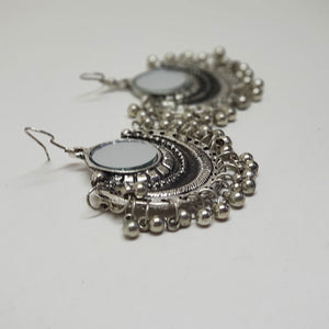 Arch Hanging Mirror Earring Silver