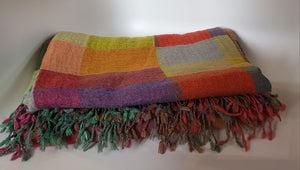Block Pattern Woolen Throw orange