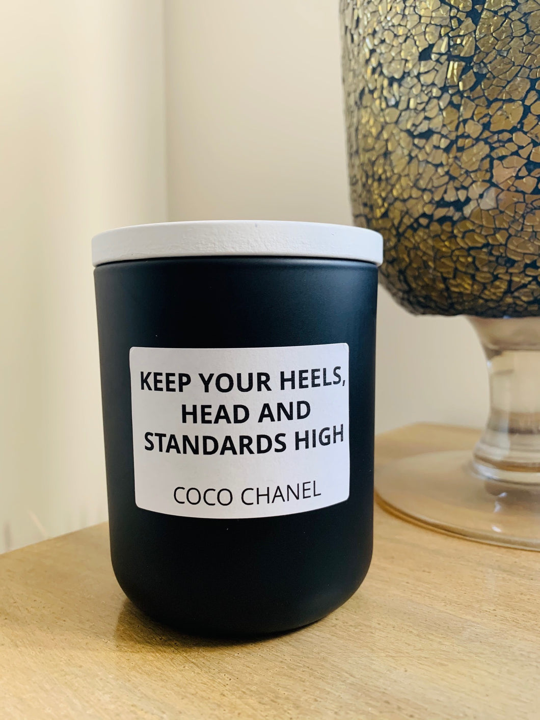 Black Coco Quote candle - LGE Matte White premium jar with Timber Lid