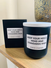 Load image into Gallery viewer, Black Coco Quote candle - LGE Matte White premium jar with Timber Lid