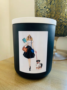 GIRL BOSS Walking the Dog Candle - XL Matte White premium jar with Timber Lid