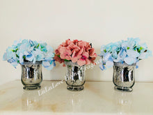 Load image into Gallery viewer, Vase - Silver Beaded Bling Jar with Hydrangea bouquet