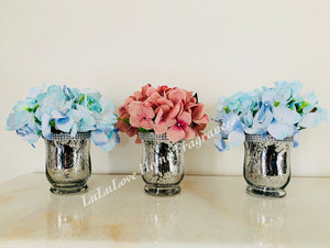 Vase - Silver Beaded Bling Jar with Hydrangea bouquet