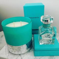 Breakfast Blue Candle - XL Tiffany-esque style
