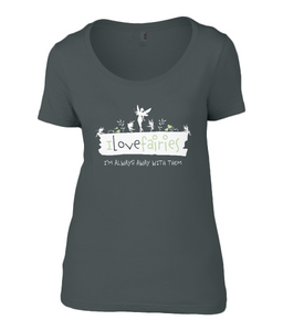 I Love Fairies Ladies Scoop Neck T-Shirt 0030 - Clothing - EchoWears T-Shirts & Accessories