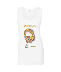 Headphones Ladies Tank Top T-shirt 0032 - Clothing - EchoWears T-Shirts & Accessories