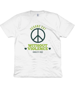 Vegans Eat Without Violence Ladies Fitted Vegan T-shirt 0089 - Clothing - EchoWears T-Shirts & Accessories