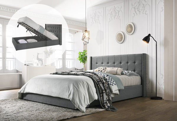 Mink Queen Bed Frame With Stud Detail - Grey