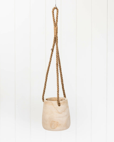 Hanging Timber Planter With Rope