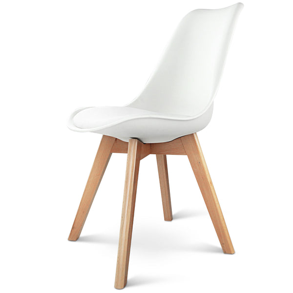 Adelle Dining Chair x 4 - White - Natural