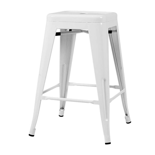 4x Louis Bar Stools - White Metal