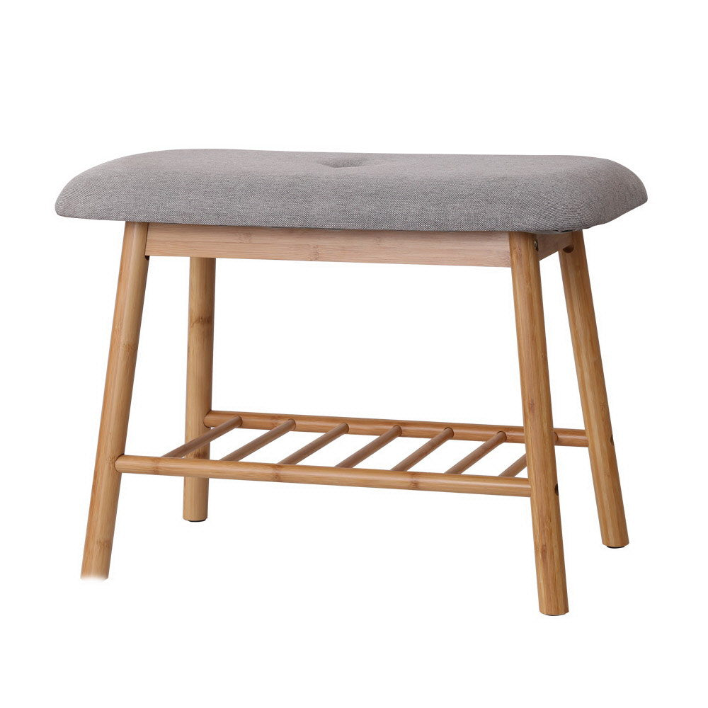 Bamboo & Fabric Shoe Seat - Grey & Natural