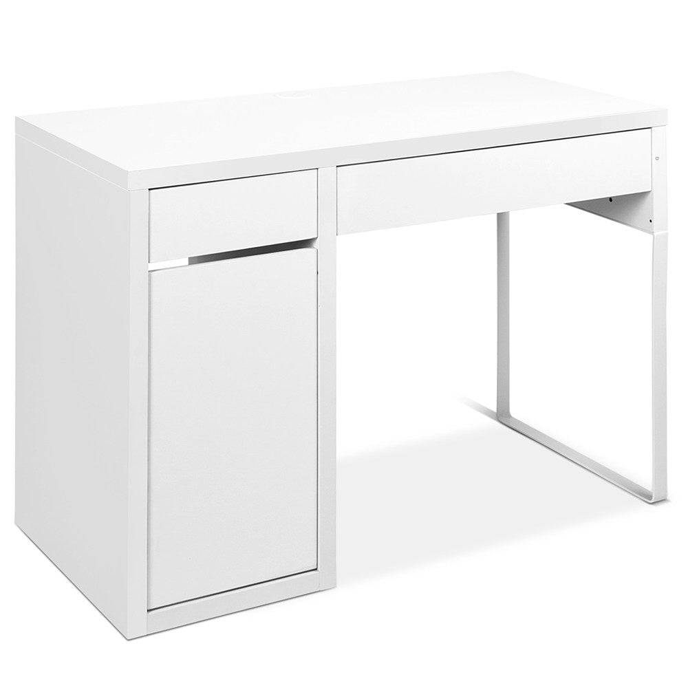 Desk With Storage Cabinets - White / Metal