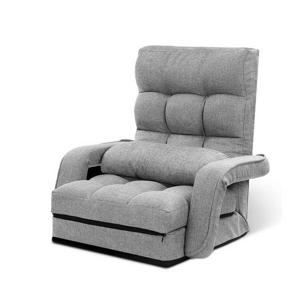 Armchair Sofa / Floor Recliner- Light Grey Linen