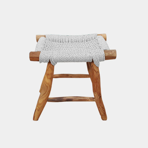 Woven Sea Grass Stool - White