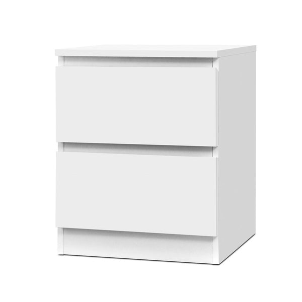 2 Draw Bedside Table - White
