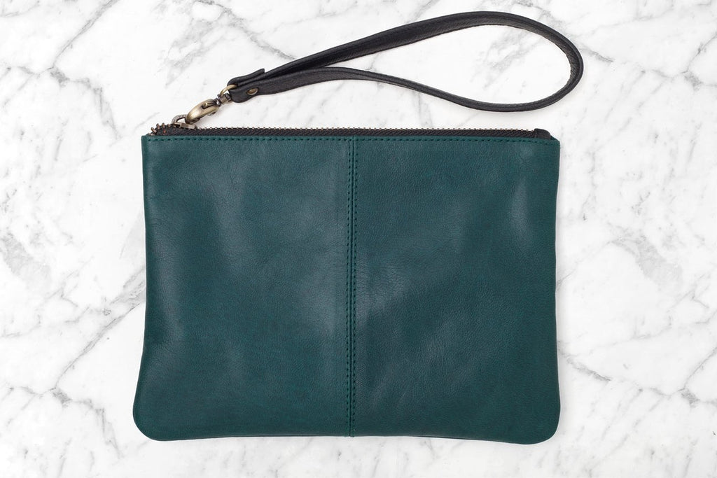 Ava Leather Clutch - Forest Green