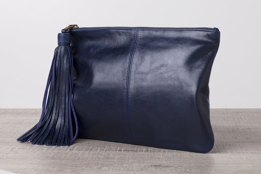Alba Leather Clutch - Navy