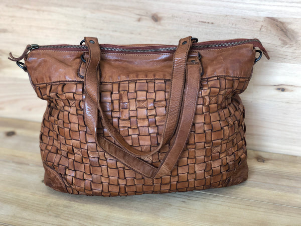Bethany Woven Leather Handbag - Tan