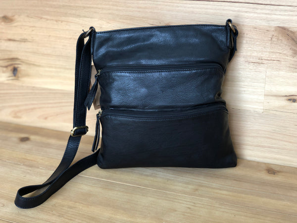 Sandy Leather Cross Body - Black