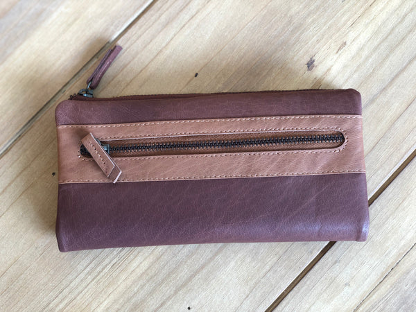 Rhomb Leather Wallet - Brown/Tan