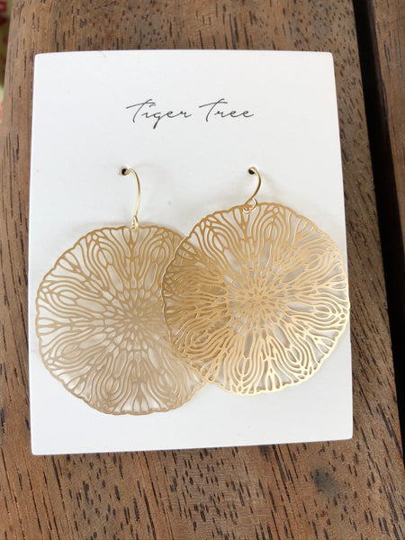 Tiger Tree - Gold Line Art Earrings.