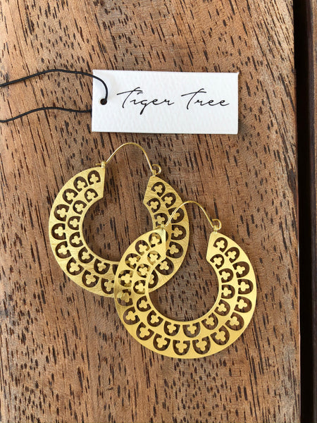 Tiger Tree - Gold Jali Hoops.