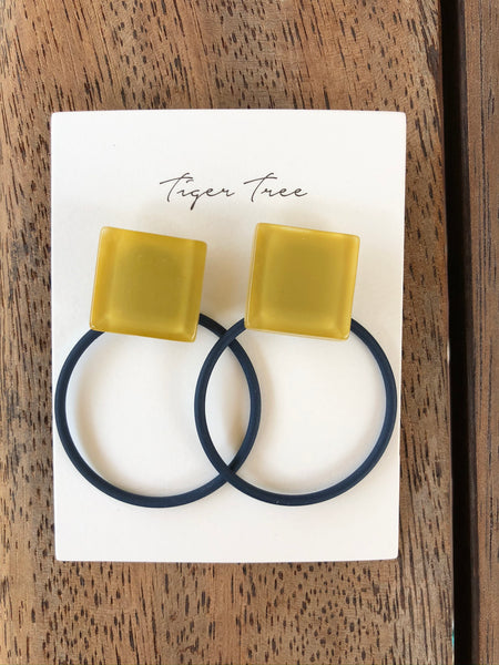 Tiger Tree - Mustard Resin & Navy Hoop Earrings.