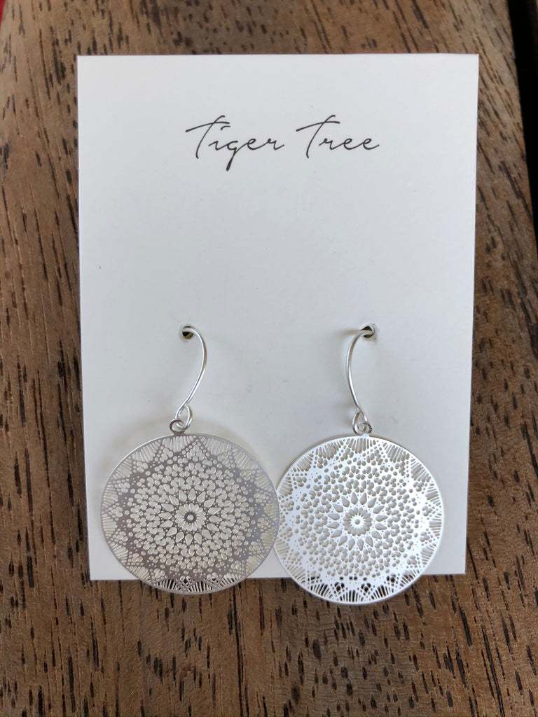 Tiger Tree - Silver Web Earrings.