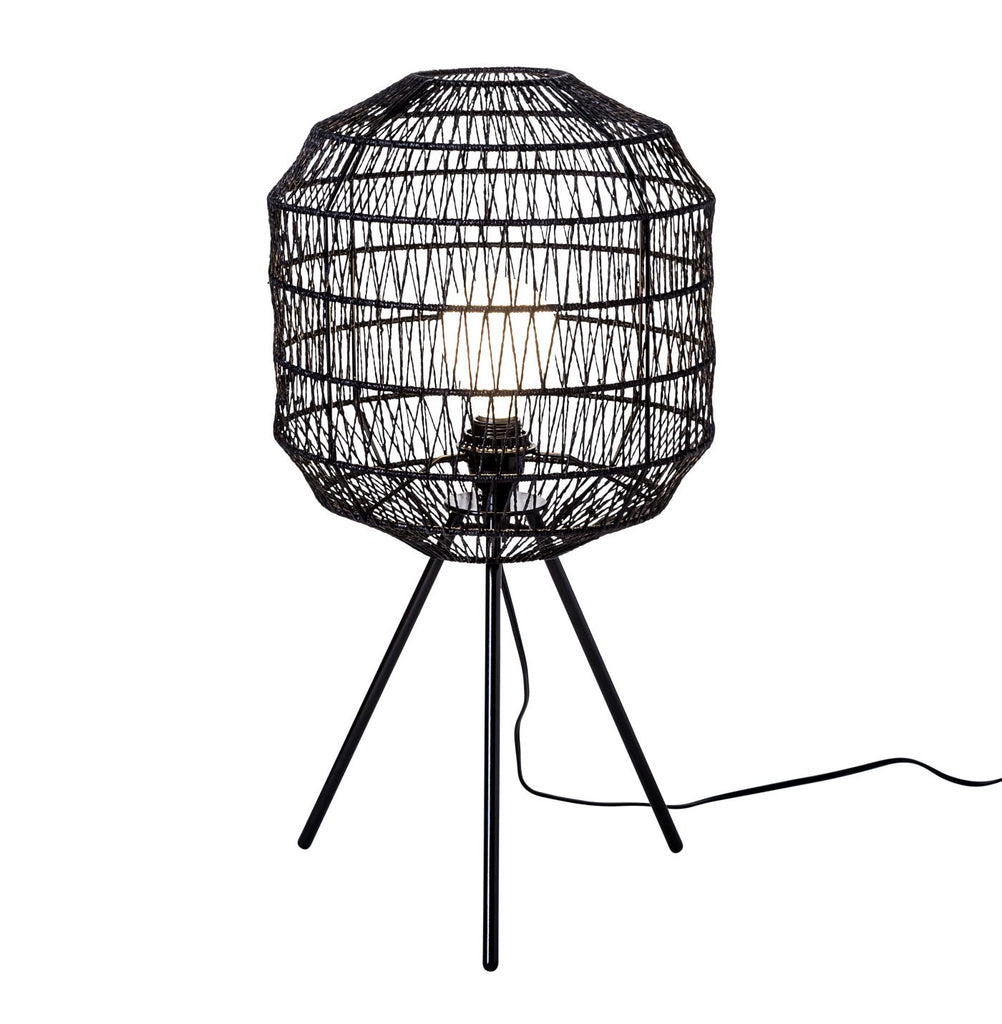 Hana Lamp- Black / Wicker