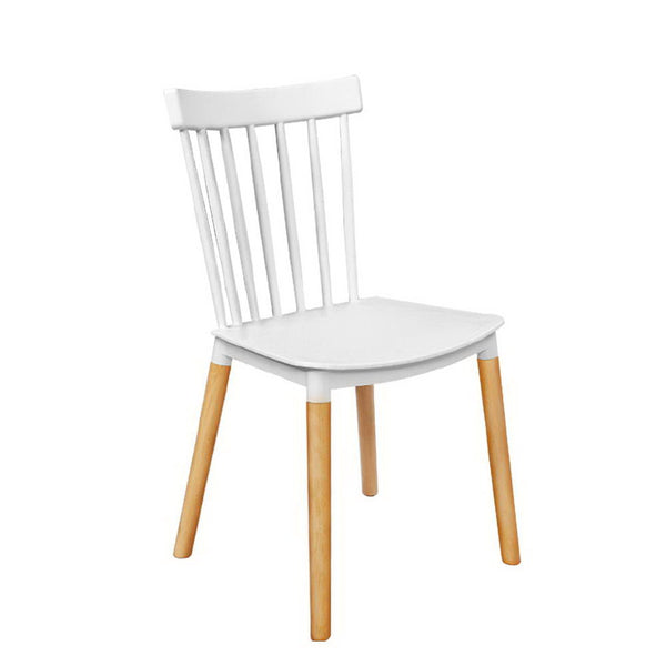 Replica Rubber Wood Kitchen Dining Chairs - Set of 4 - White & Natural