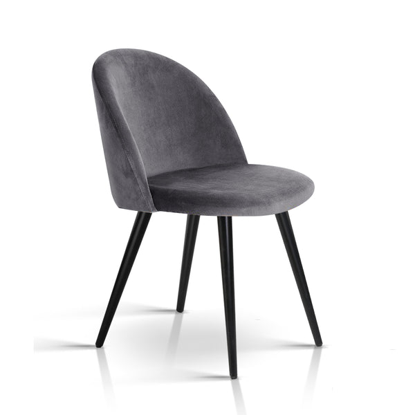 Modern Velvet Dining Chair - Dark Grey