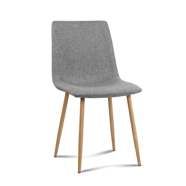 4X Dallas Fabric Dining Chairs - Light Grey
