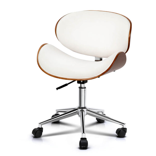 Micell Wooden & PU Leather Office Desk Chair - White