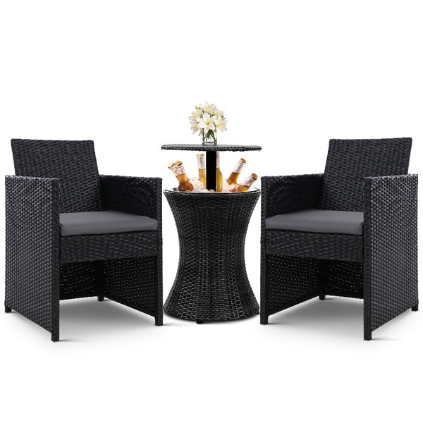 Windsor Outdoor 3 Piece Wicker Table Setting With Cooler / Ice Bucket