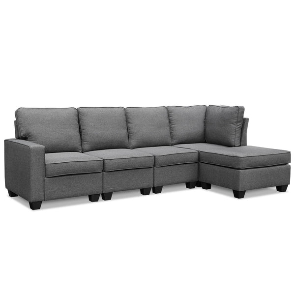 Sampson 5 Seater Modular Sofa Lounge With Chaise - Fabric - Grey