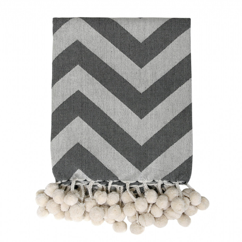 HK Living Woven PomPon Throw -  Black & White