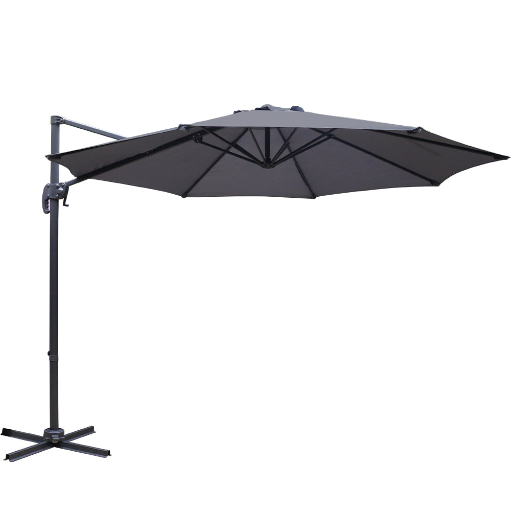 Instahut 3M Roma Outdoor Furniture Garden Umbrella 360 Degree Charcoal