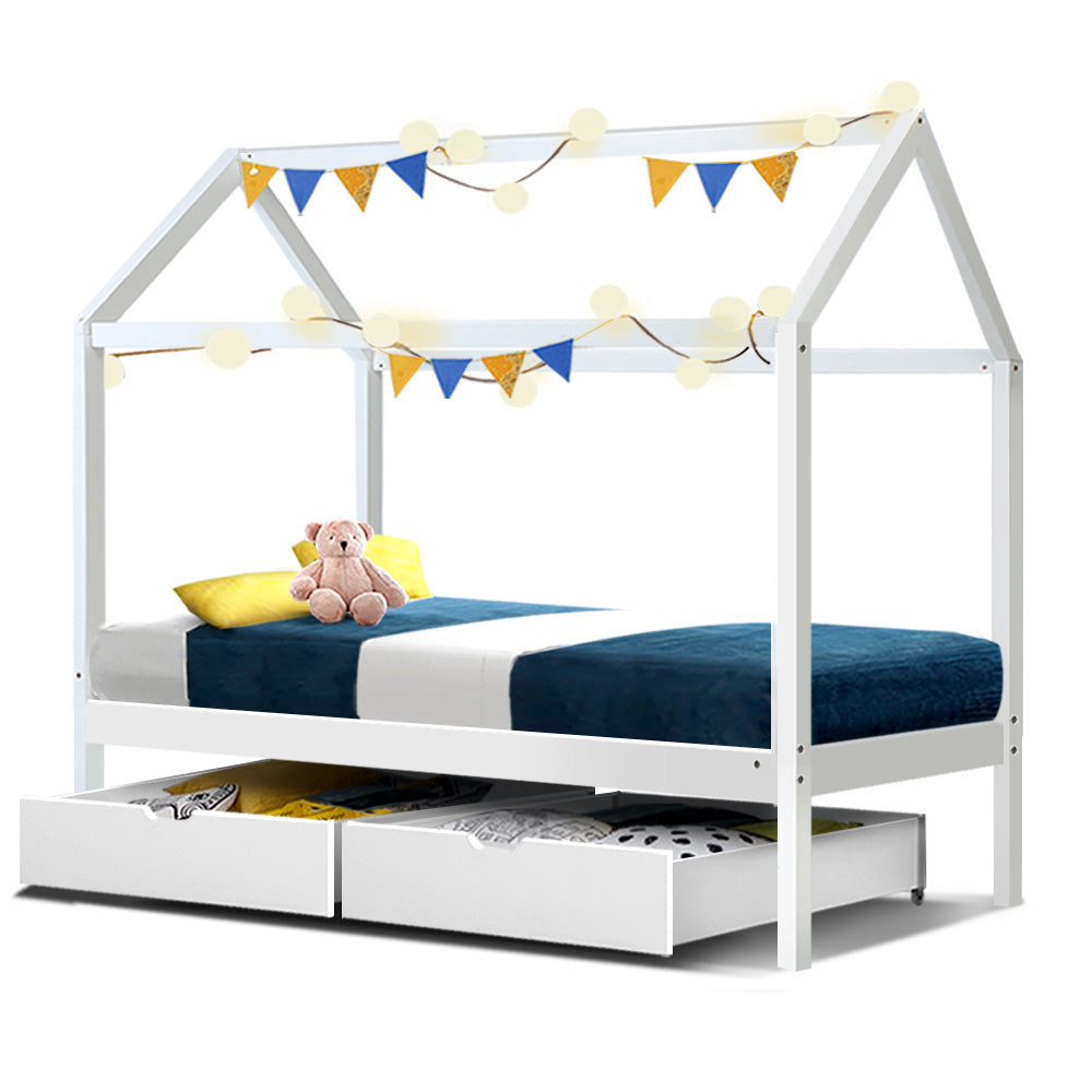 Little Ones Single Bed Frame With Draws - White