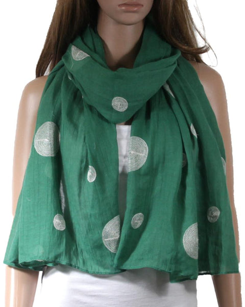 Lemon Tree Scarf - Green/White Spots