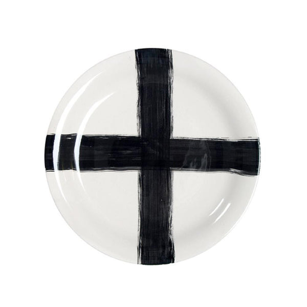 HK Living Extra Large Ceramic Plate/ Platter -  Black Cross