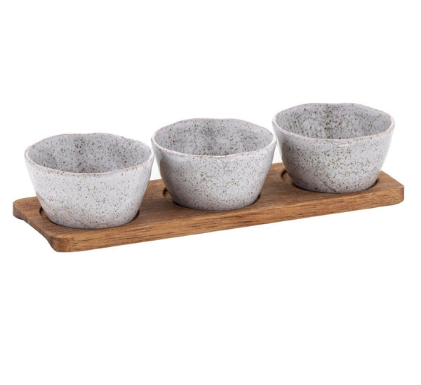 Atacama 3 Bowl Set With Acacia Tray