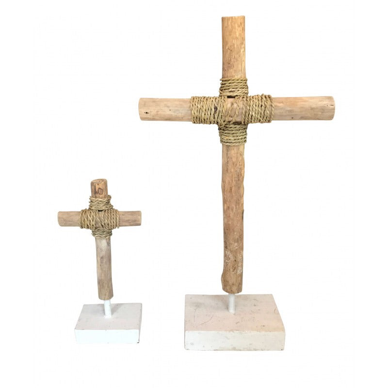 Driftwood Cross Pair- Natural/White