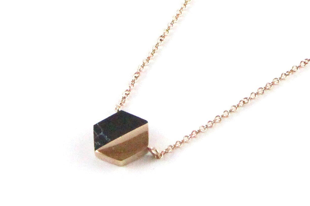 Harper & Willo Rose Gold/ Black Marble Hexagon Necklace