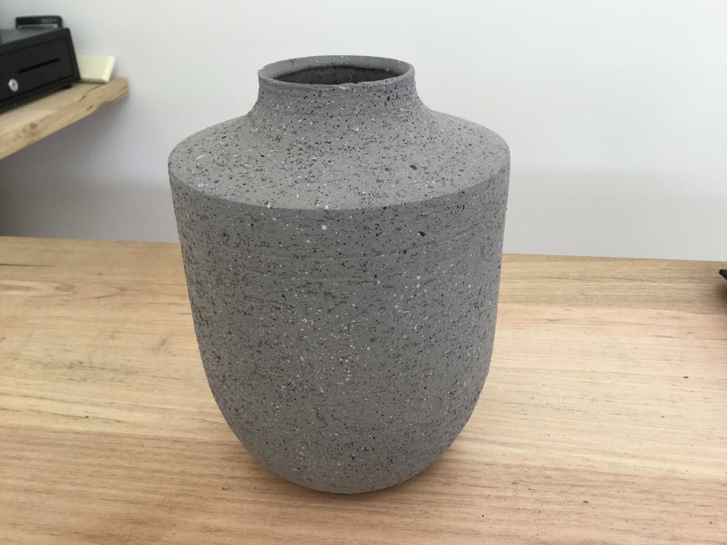 Concrete Look Ceramic Vase -  Grey